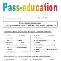 65f773a1f Etre et avoir au présent, futur, imparfait - Cm1 - Exercices corrigés -  Pass Education