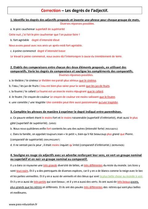 Adjectif - 5ème - Contrôle sur les degrés - Pass Education
