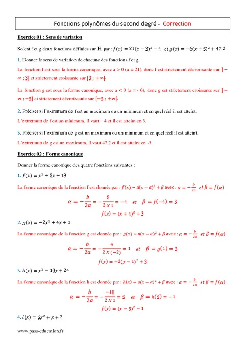 Fonctions polynômes du second degré - 1ère ES - L ...