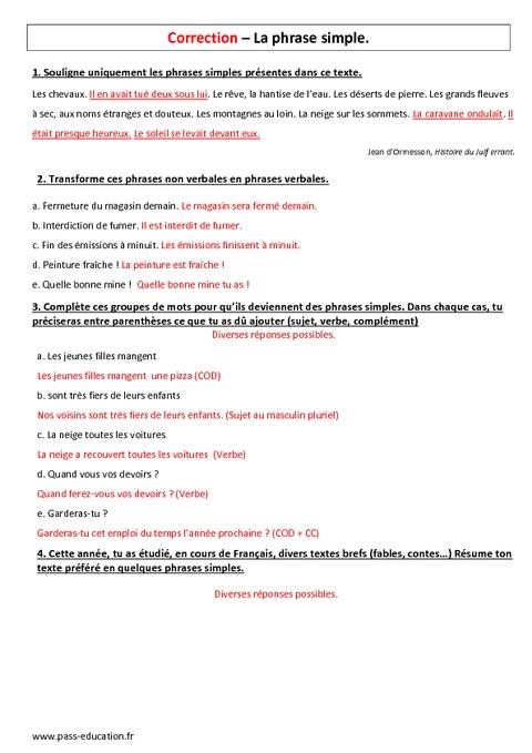 phrase simple - 6 u00e8me - evaluation  u00e0 imprimer