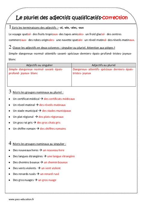 pluriel des adjectifs qualificatifs - ce2 - exercices corrig u00e9s