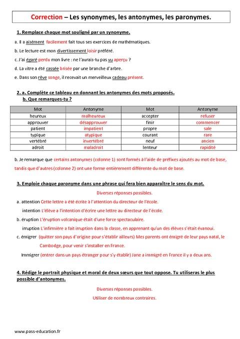 Synonymes, antonymes, paronymes - 6ème - Evaluation - Pass ...