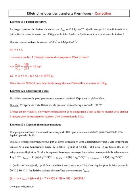 Exercices sur les transferts thermiques Exercices sur les transferts