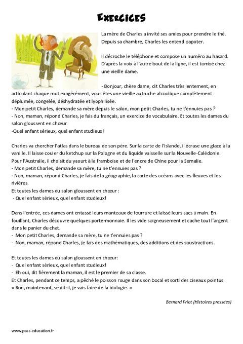 Exercices de bernard friot ce2 r cit lecture pass - Numero de telephone de la chambre des commerces ...
