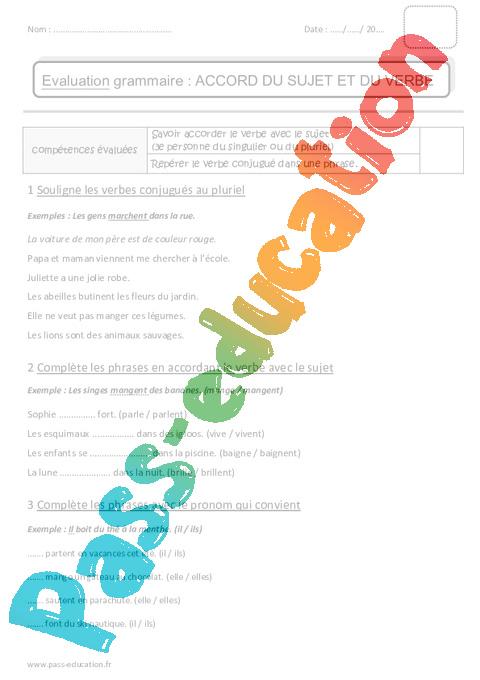 Accord du sujet et du verbe - Ce1 - Bilan - Pass Education