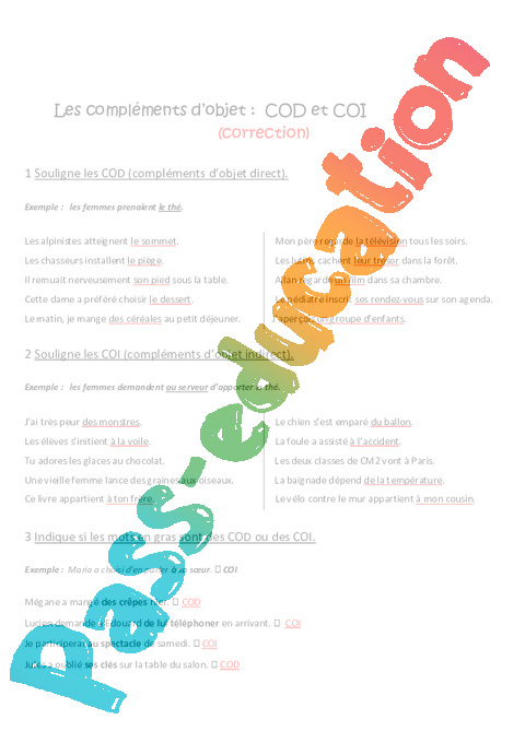 exercice cod coi cm2 pdf