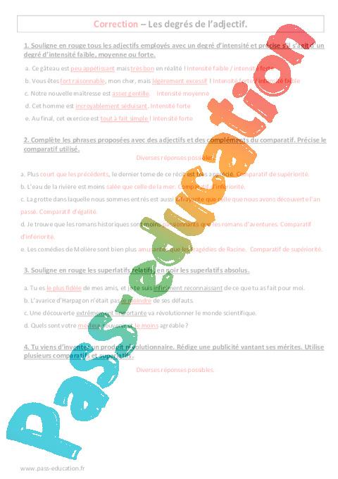 Degrés de l'adjectif - 5ème - Evaluation à imprimer - Pass Education