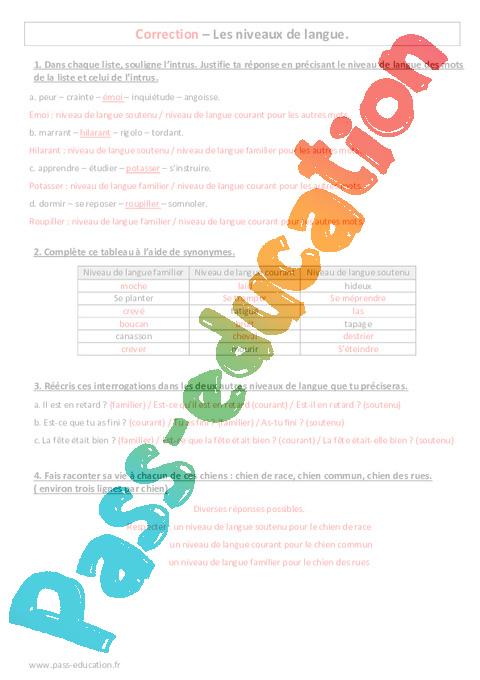niveaux de langue - 6 u00e8me - evaluation sur le langage familier  courant  soutenu