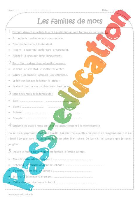 Familles de mots - Ce2 - Exercices à imprimer - Pass Education