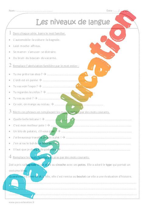 niveaux de langue - ce2 - exercices  u00e0 imprimer
