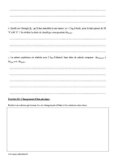 Transferts thermiques - Effets physiques - 1ère S ...