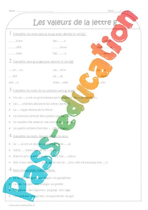 Valeurs de la lettre g - Ce2 - Exercices corrigés - Pass ...