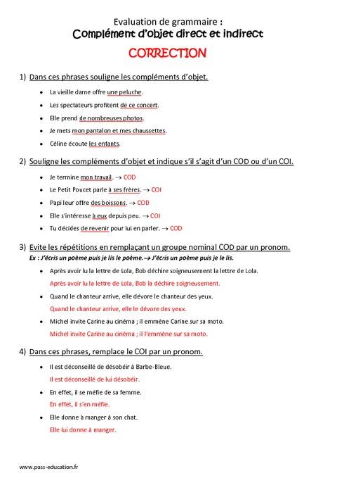Complément d'objet direct et indirect - Cm1 - Bilan - COD ...