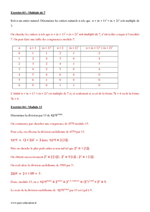 exercices sur les congruences terminale