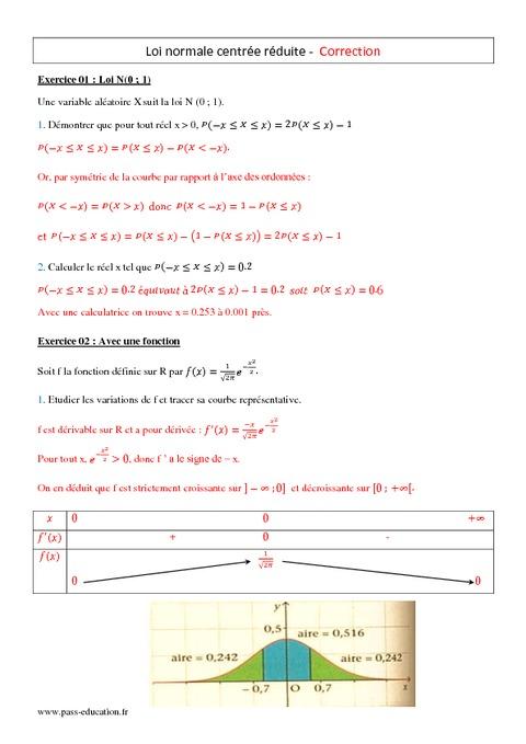 Loi normale centr e r duite terminale s exercices - Table de loi normale centree reduite ...