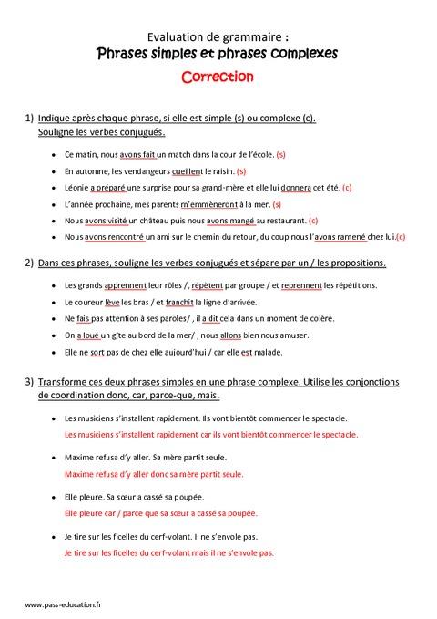 Phrase simple - Phrase complexe - Cm1 - Bilan à imprimer - Pass Education