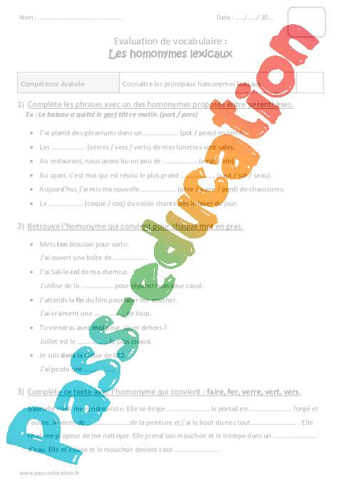 Homonymes lexicaux ce2 bilan pass education for Homonyme du mot farce