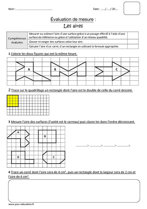 aires surface cm1 bilan imprimer pass education. Black Bedroom Furniture Sets. Home Design Ideas