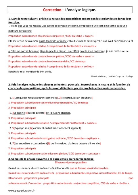 Analyse logique 5 me contr le sur la phrase complexe for Cours fonction logique