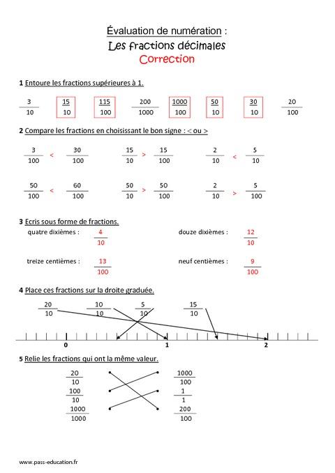 Fractions décimales - Cm1 - Bilan avec le corrigé - Pass ...