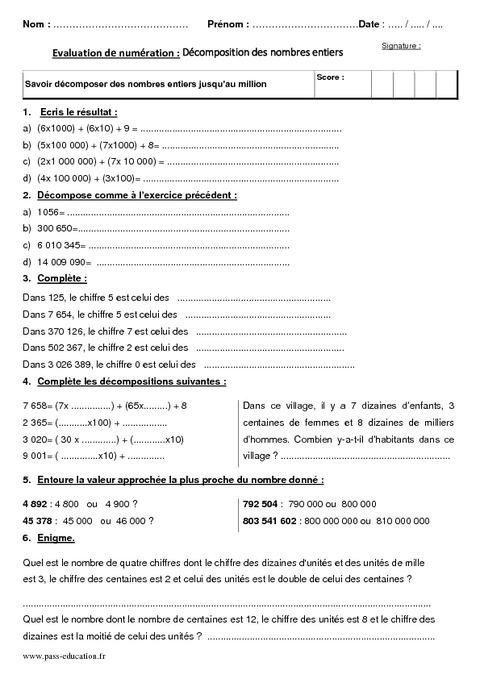 les nombres entiers naturels exercices pdf