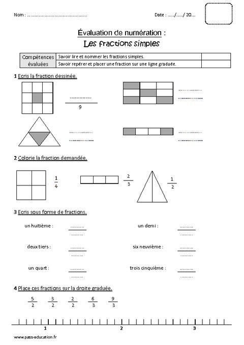 Fractions simples cm1 bilan imprimer pass education - Fraction cm1 a imprimer ...