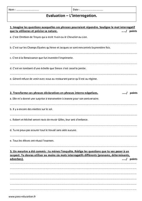Interrogation 5 me evaluation imprimer pass education - La chambre des officiers controle de lecture ...