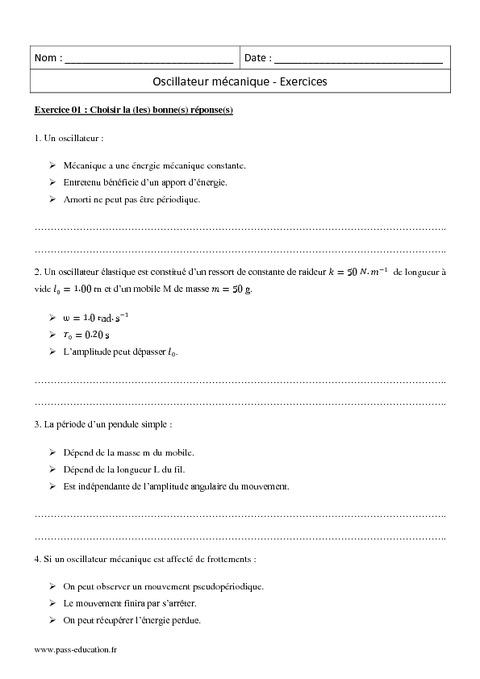 Physique Exercice Terminale S