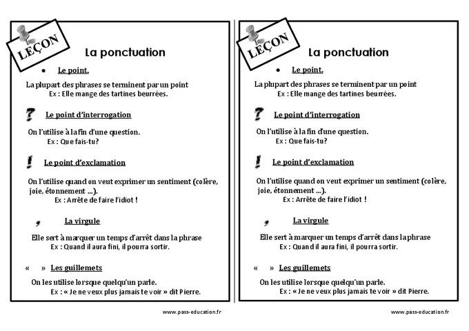 Ponctuation - Ce1 - Leçon - Pass Education