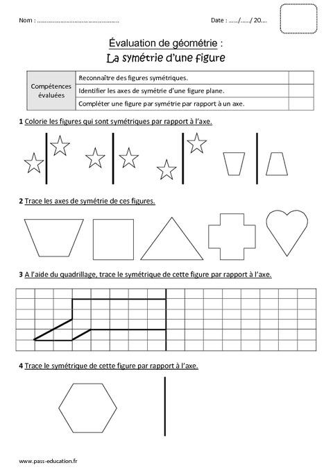 Symétrie d'une figure - Cm1 - Bilan - Pass Education