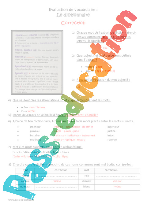 dictionnaire cm2 bilan imprimer pass education. Black Bedroom Furniture Sets. Home Design Ideas