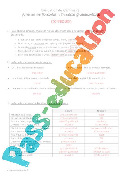 Nature et fonction - Cm2 - Bilan - Analyse grammaticale ...