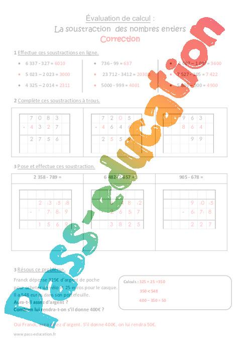 Soustraction des nombres entiers cm1 bilan pass education - Soustraction avec retenue cm1 ...