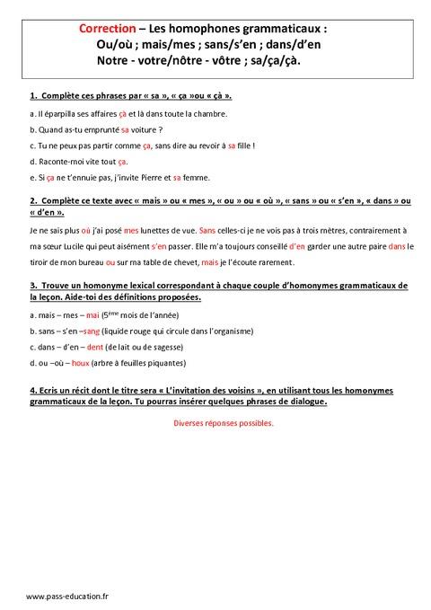 Homophones grammaticaux 5 me evaluation bilan pass for Dans homophone
