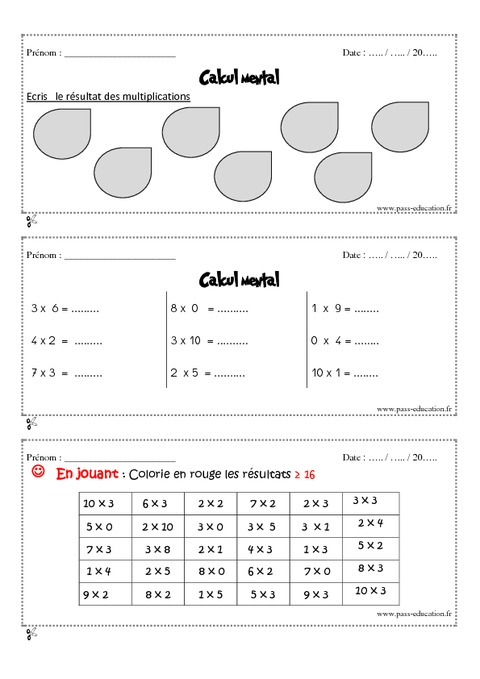 Calcul mental cm1 exercice et bilan semaine 9 12 - Calcul mental table de multiplication ...