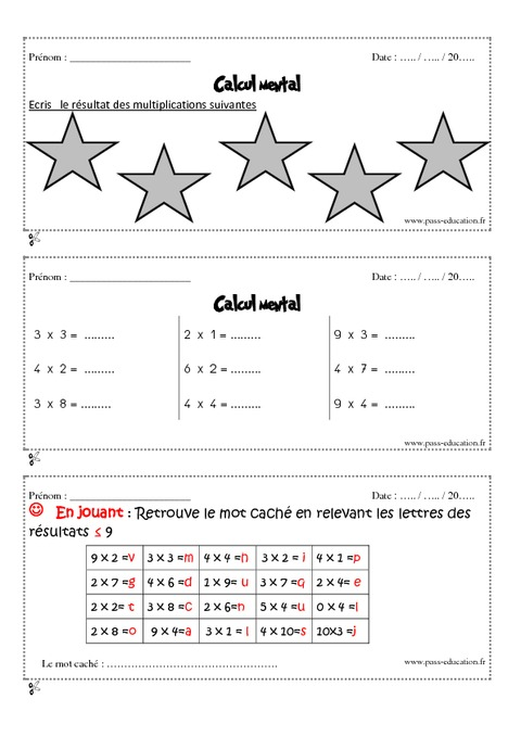 Calcul mental cm1 exercices et bilan semaine 13 16 for Exercice table de multiplication cm1