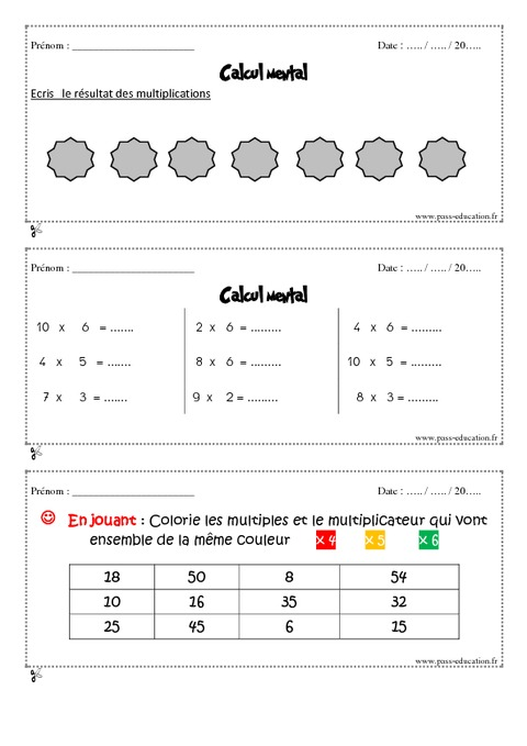 Calcul mental cm1 exercice bilan semaine 17 20 - Calcul mental tables de multiplication ...