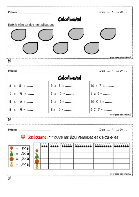 Calcul mental cm1 exercices et bilan semaine 25 28 for Exercice multiplication cm1