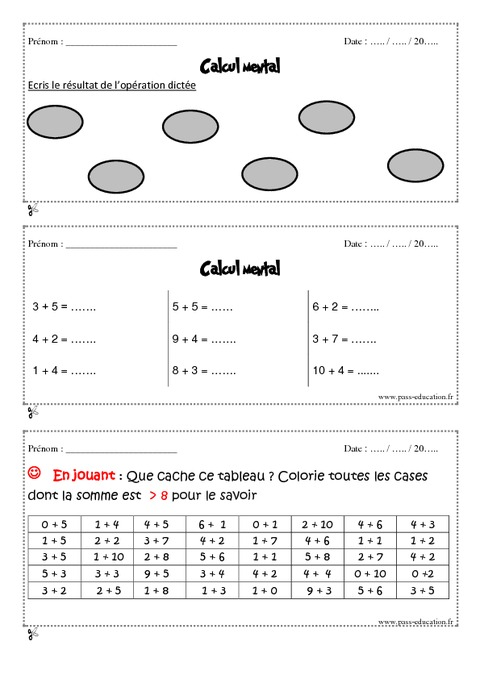 Calcul mental cm1 exercices et bilan semaine 1 4 for Table de calcul