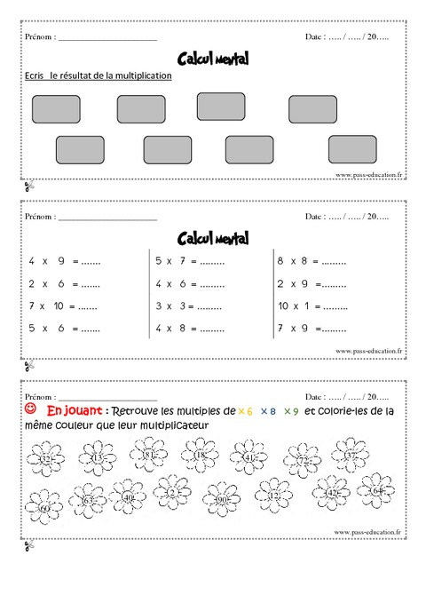 Calcul mental cm1 exercice et bilan semaine 29 32 - Calcul mental table de multiplication ...