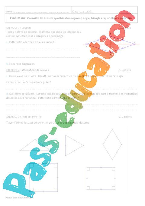 Axe de sym trie 6 me evaluation imprimer pass education - Symetrie a imprimer ...