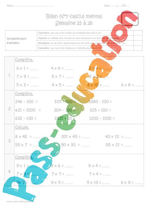 Calcul mental cm1 exercices et bilan semaine 25 28 - Les table de multiplication de 1 a 100 ...