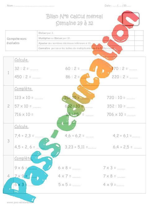 Calcul mental - Cm1 - Exercice et bilan - Semaine 29 à 32 - Pass Education