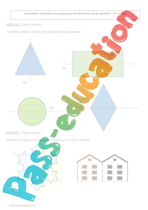 Axe de sym trie 6 me contr le imprimer pass education - Symetrie a imprimer ...