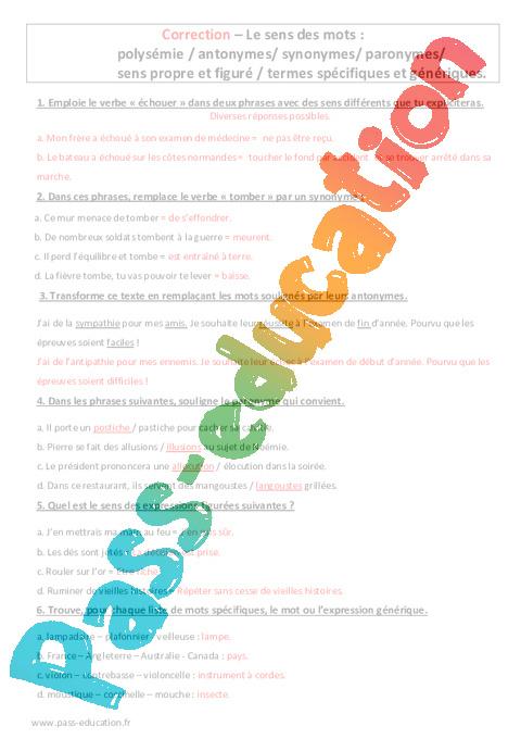 Polysemie Antonymes Synonymes Paronymes 5eme Evaluation