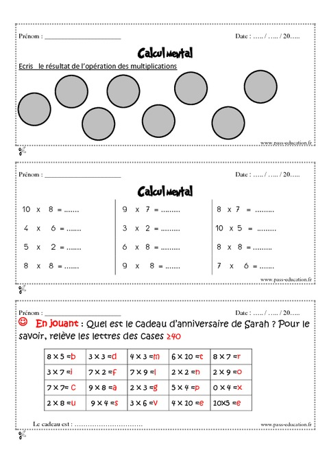 Calcul mental cm1 exercices et bilan semaine 25 28 for Multiplication de 8