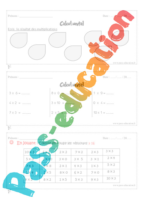 Table de multiplication 11 et 12 id es inspir es pour la - Calcul mental table de multiplication ...