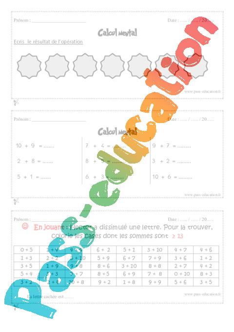 Calcul mental cm1 exercice bilan semaine 17 20 pass education - Evaluation tables de multiplication ...