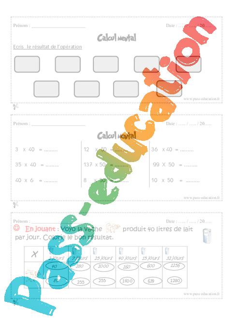 Calcul mental cm1 exercices et bilan semaine 25 28 - Calcul cm1 a imprimer ...