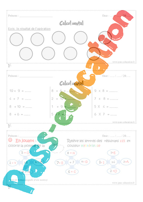 Calcul mental cm1 exercice et bilan semaine 33 36 - Calcul mental table de multiplication ...